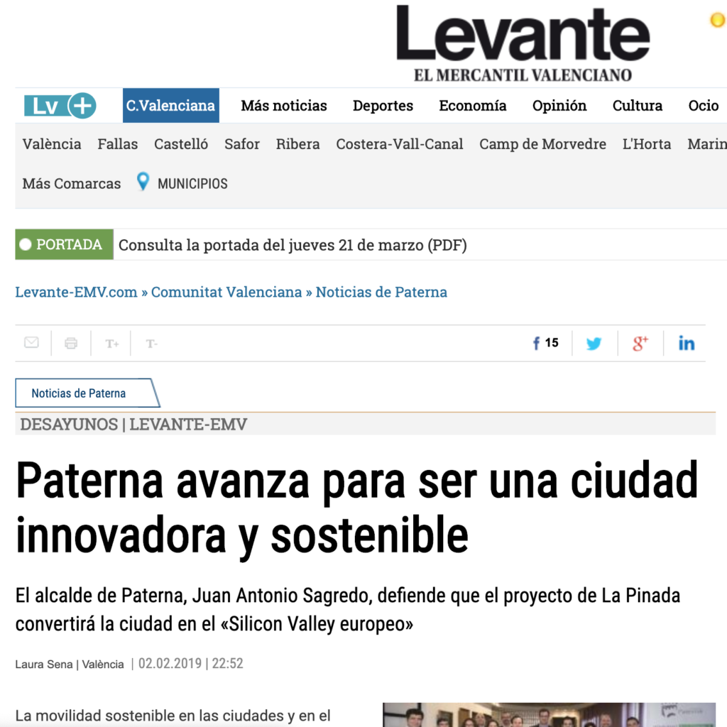 Paterna avanza para ser una ciudad innovadora y sostenible